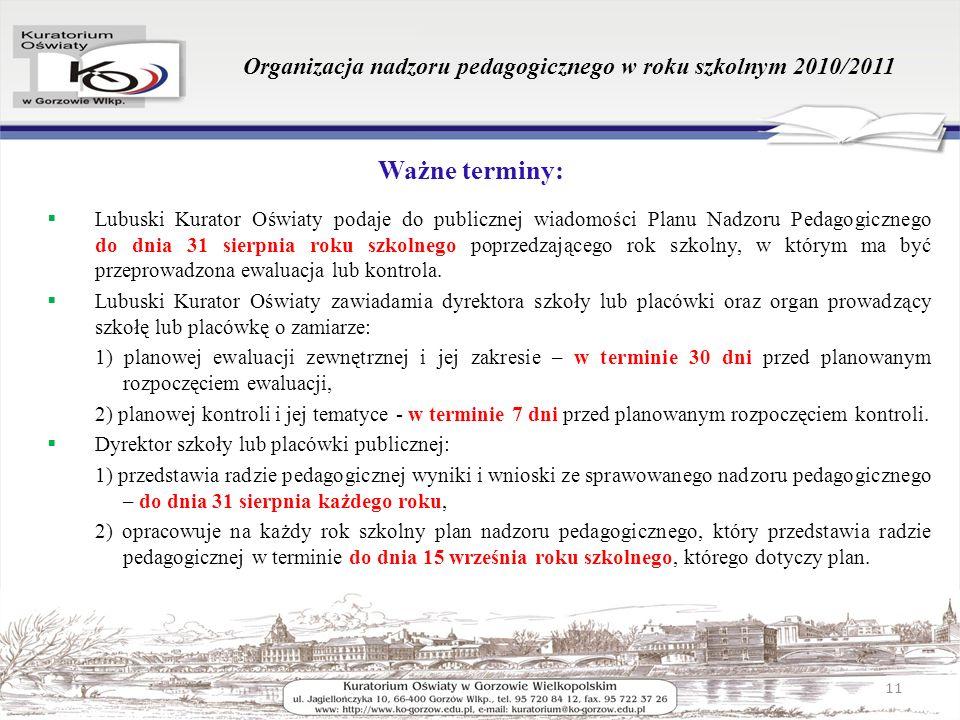 Organizacja nadzoru pedagogicznego w roku szkolnym 2010/2011 Ważne terminy: Lubuski Kurator Oświaty podaje do publicznej wiadomości Planu Nadzoru Peda
