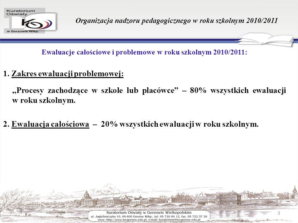 Organizacja nadzoru pedagogicznego w roku szkolnym 2010/2011 Ewaluacje całościowe i problemowe w roku szkolnym 2010/2011: 1. Zakres ewaluacji problemo