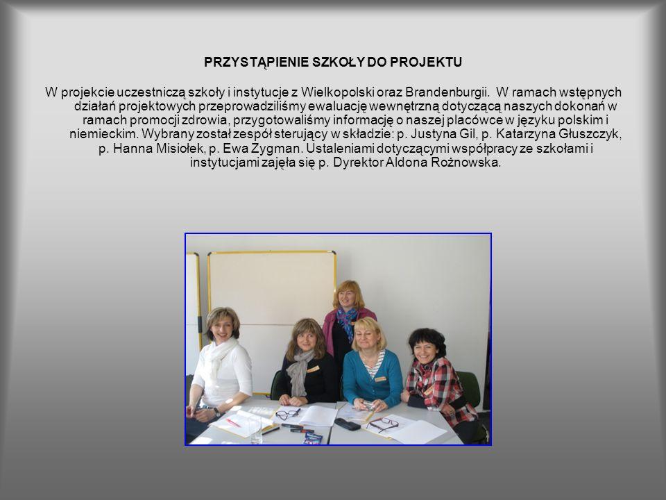 PRZYSTĄPIENIE SZKOŁY DO PROJEKTU W projekcie uczestniczą szkoły i instytucje z Wielkopolski oraz Brandenburgii. W ramach wstępnych działań projektowyc