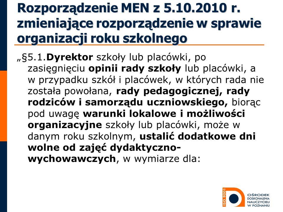Rozporządzenie MEN z 5.10.2010 r. zmieniające rozporządzenie w sprawie organizacji roku szkolnego §5.1.Dyrektor szkoły lub placówki, po zasięgnięciu o