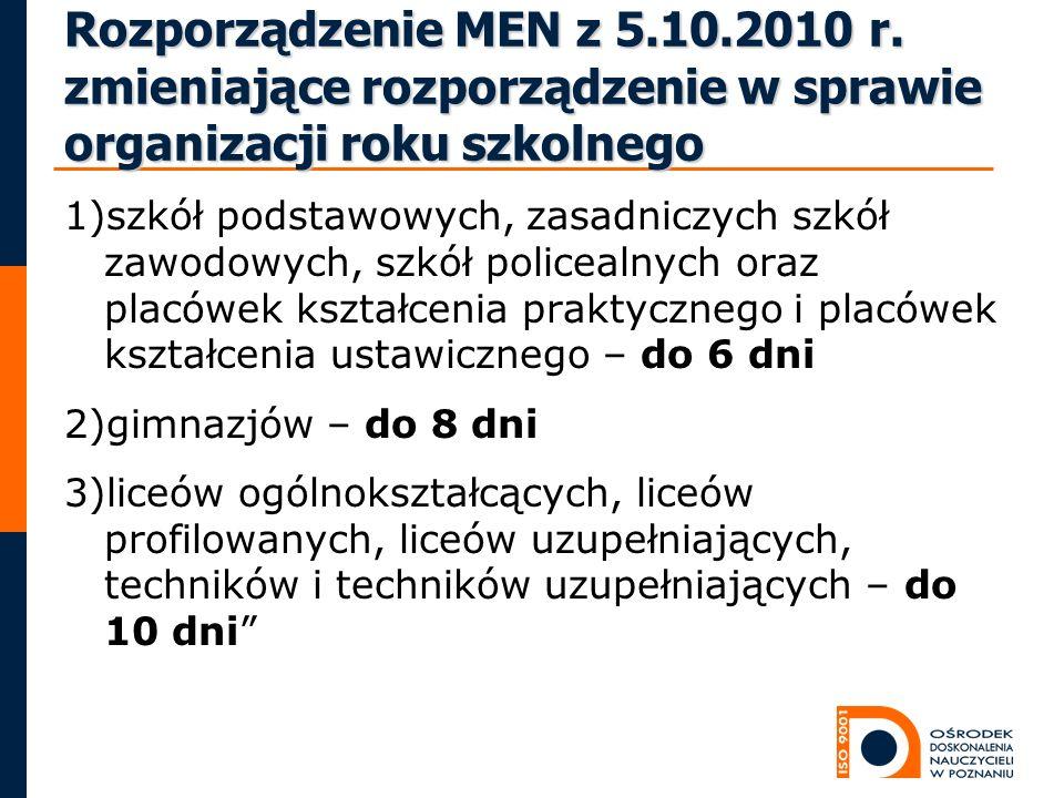 Rozporządzenie MEN z 5.10.2010 r. zmieniające rozporządzenie w sprawie organizacji roku szkolnego 1)szkół podstawowych, zasadniczych szkół zawodowych,