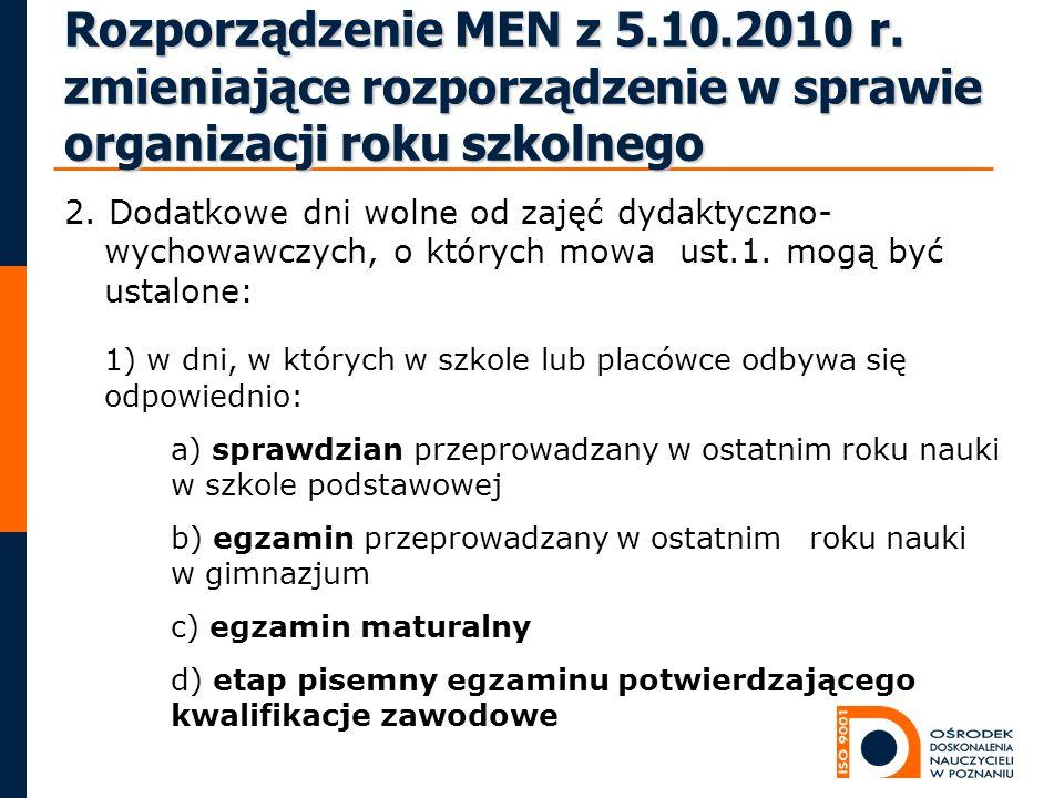 Rozporządzenie MEN z 5.10.2010 r. zmieniające rozporządzenie w sprawie organizacji roku szkolnego 2. Dodatkowe dni wolne od zajęć dydaktyczno- wychowa