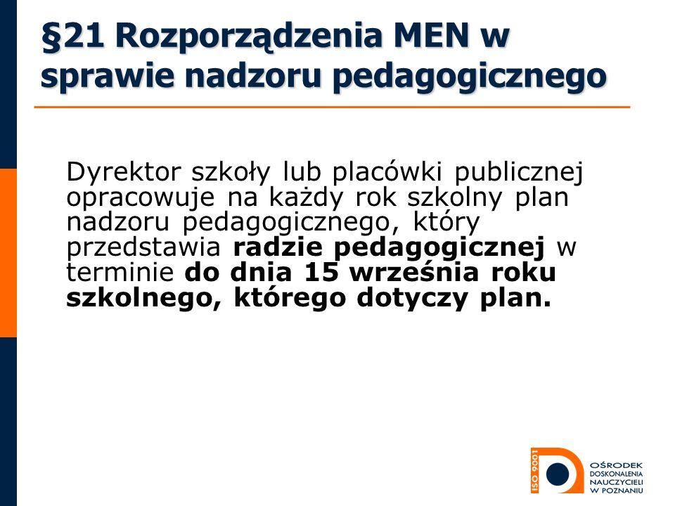 §21 Rozporządzenia MEN w sprawie nadzoru pedagogicznego Dyrektor szkoły lub placówki publicznej opracowuje na każdy rok szkolny plan nadzoru pedagogic