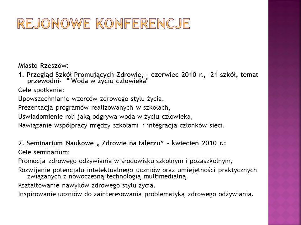 Miasto Rzeszów: 1. Przegląd Szkół Promujących Zdrowie,- czerwiec 2010 r., 21 szkół, temat przewodni-