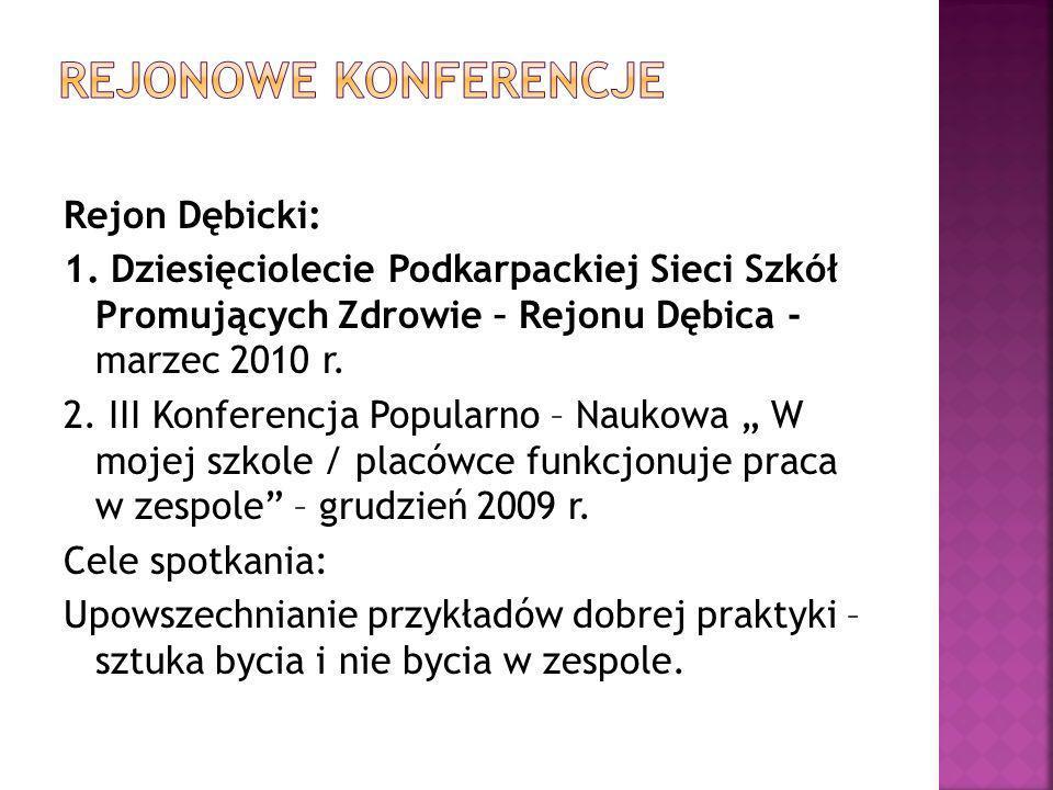Rejon Dębicki: 1. Dziesięciolecie Podkarpackiej Sieci Szkół Promujących Zdrowie – Rejonu Dębica - marzec 2010 r. 2. III Konferencja Popularno – Naukow