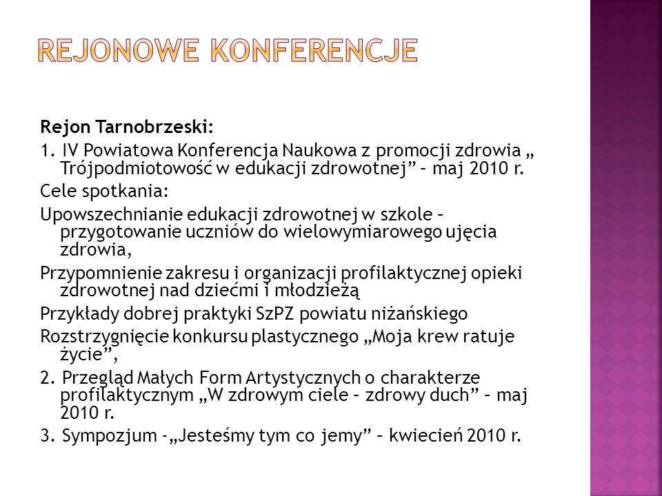 Rejon Tarnobrzeski: 1. IV Powiatowa Konferencja Naukowa z promocji zdrowia Trójpodmiotowość w edukacji zdrowotnej – maj 2010 r. Cele spotkania: Upowsz