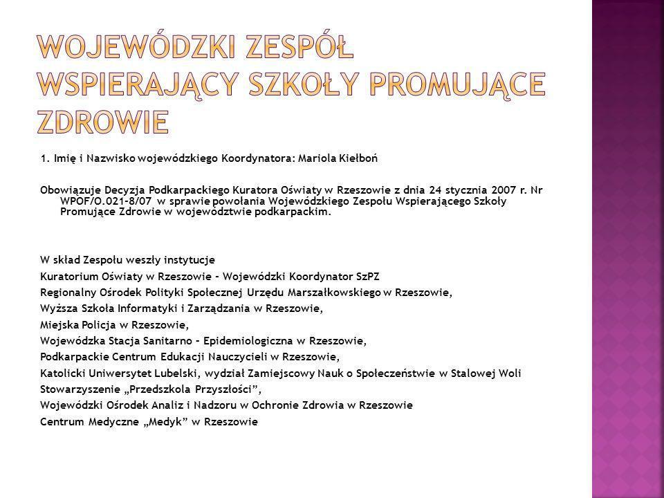 1. Imię i Nazwisko wojewódzkiego Koordynatora: Mariola Kiełboń Obowiązuje Decyzja Podkarpackiego Kuratora Oświaty w Rzeszowie z dnia 24 stycznia 2007