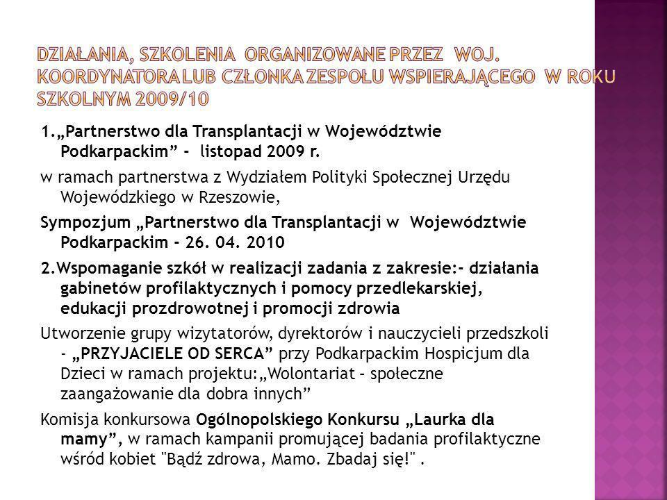 1.Partnerstwo dla Transplantacji w Województwie Podkarpackim - listopad 2009 r. w ramach partnerstwa z Wydziałem Polityki Społecznej Urzędu Wojewódzki