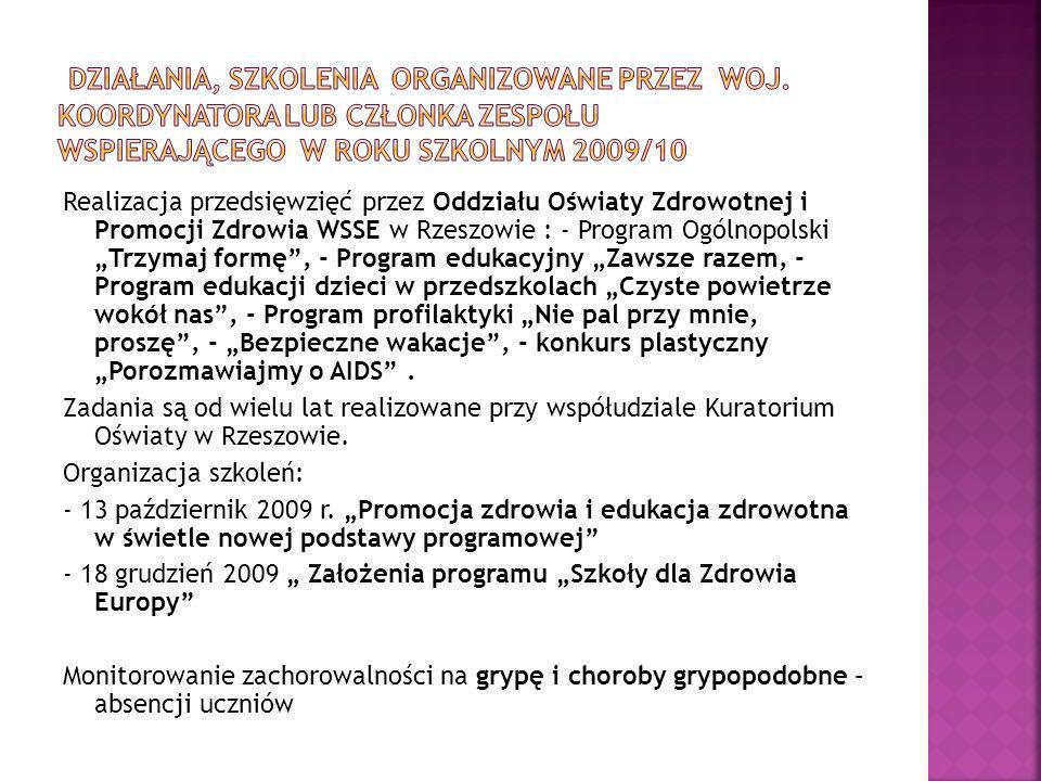 Realizacja przedsięwzięć przez Oddziału Oświaty Zdrowotnej i Promocji Zdrowia WSSE w Rzeszowie : - Program Ogólnopolski Trzymaj formę, - Program eduka