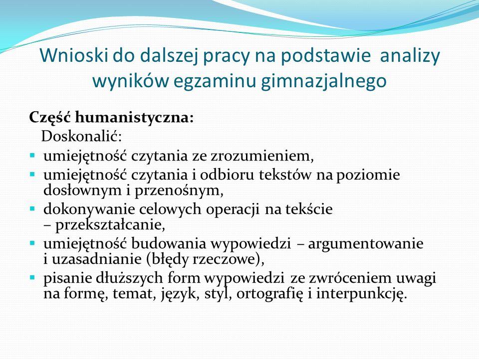 Wnioski do dalszej pracy na podstawie analizy wyników egzaminu gimnazjalnego Część humanistyczna: Doskonalić: umiejętność czytania ze zrozumieniem, um