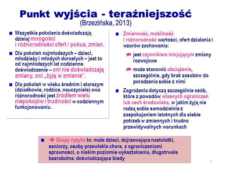 2 Punkt wyjścia - teraźniejszość (Brzezińska, 2013) Wszystkie pokolenia doświadczają dzisiaj mnogości i różnorodności ofert / pokus, zmian. Dla pokole