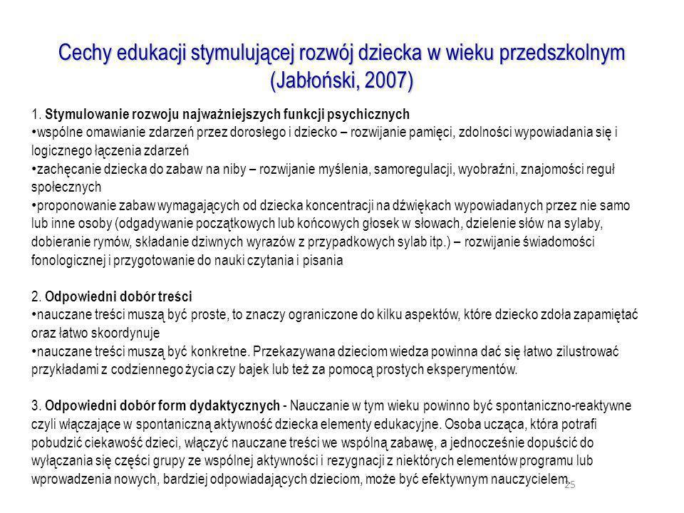 25 Cechy edukacji stymulującej rozwój dziecka w wieku przedszkolnym (Jabłoński, 2007) 1. Stymulowanie rozwoju najważniejszych funkcji psychicznych wsp