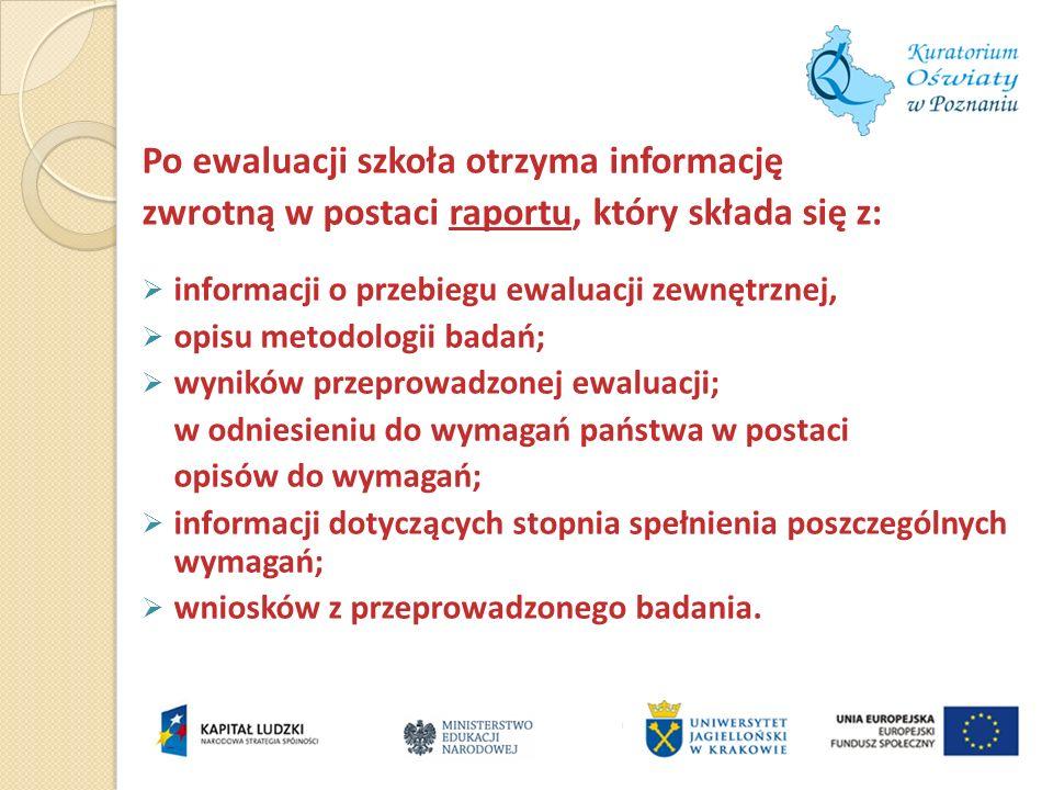Po ewaluacji szkoła otrzyma informację zwrotną w postaci raportu, który składa się z: informacji o przebiegu ewaluacji zewnętrznej, opisu metodologii