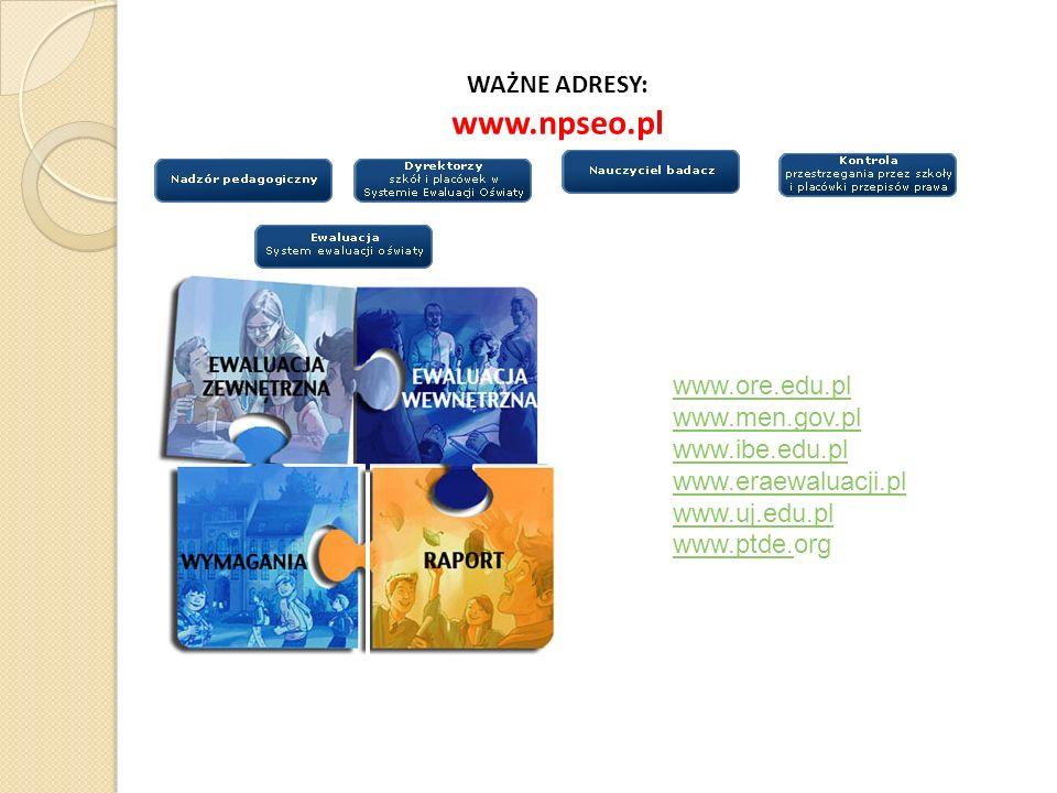 WAŻNE ADRESY: www.npseo.pl www.ore.edu.pl www.men.gov.pl www.ibe.edu.pl www.eraewaluacji.pl www.uj.edu.pl www.ptde.www.ptde.org