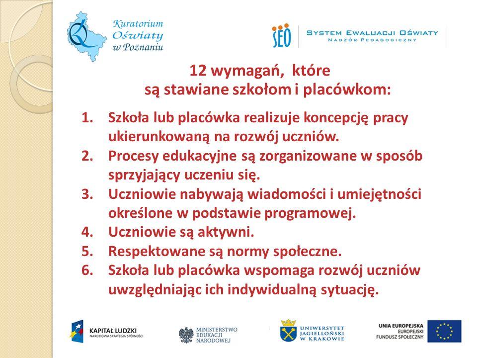 12 wymagań, które są stawiane szkołom i placówkom: 1.Szkoła lub placówka realizuje koncepcję pracy ukierunkowaną na rozwój uczniów. 2.Procesy edukacyj