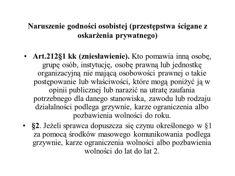 Naruszenie godności osobistej (przestępstwa ścigane z oskarżenia prywatnego) Art.212§1 kk (zniesławienie). Kto pomawia inną osobę, grupę osób, instytu