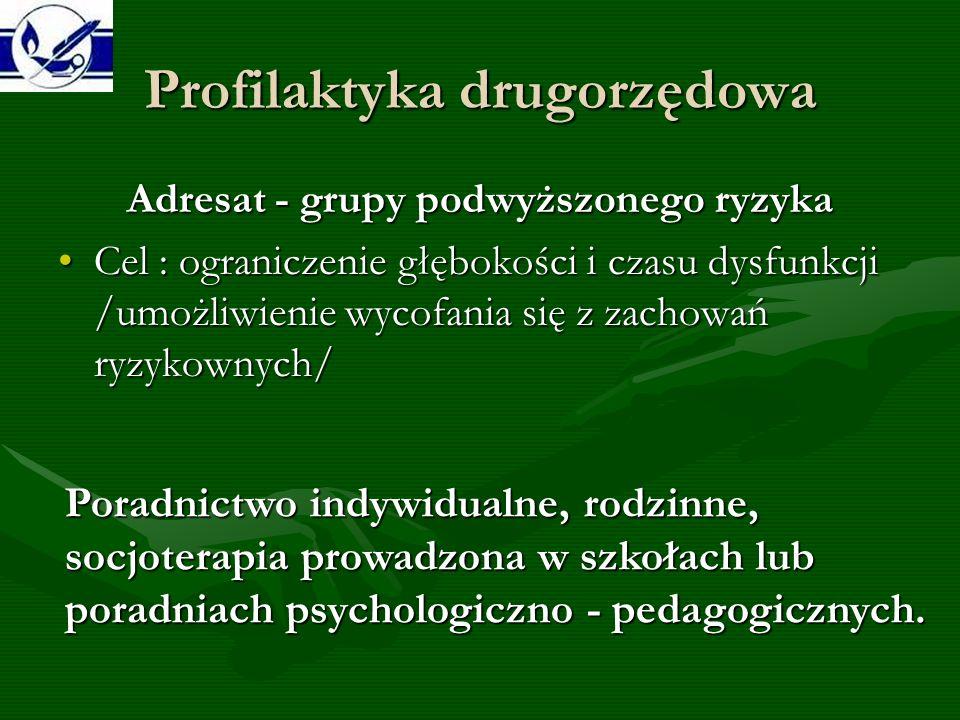 Profilaktyka trzeciorzędowa Adresat - grupa najwyższego ryzyka Cel: leczenie i rehabilitacja, powrót do społeczeństwa.