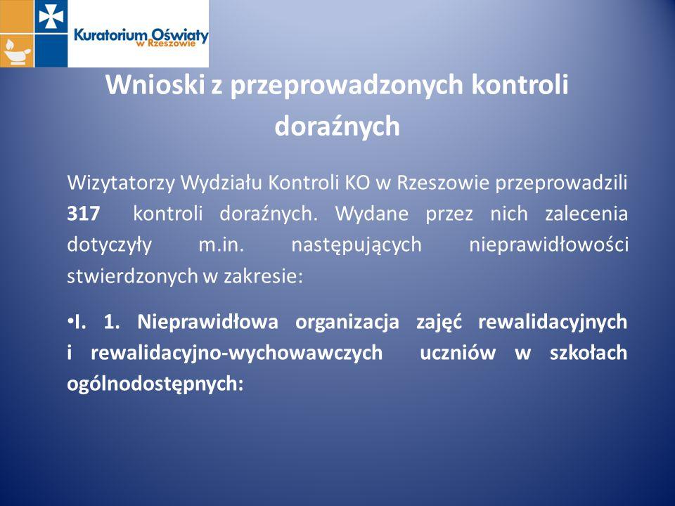 Wnioski z przeprowadzonych kontroli doraźnych Wizytatorzy Wydziału Kontroli KO w Rzeszowie przeprowadzili 317 kontroli doraźnych. Wydane przez nich za