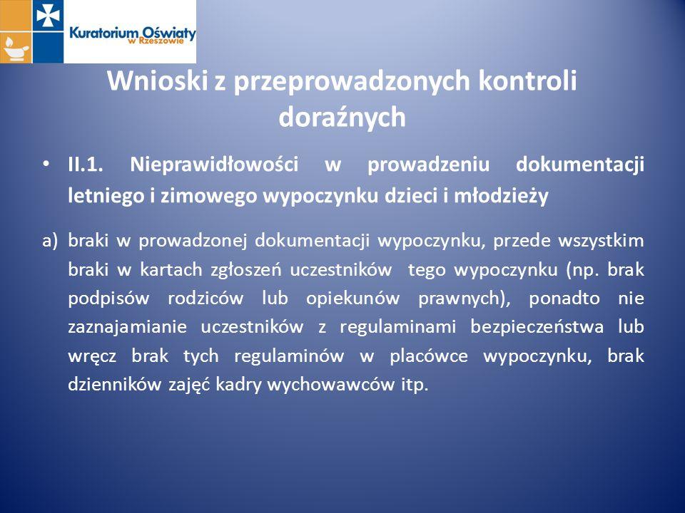 Wnioski z przeprowadzonych kontroli doraźnych II.1. Nieprawidłowości w prowadzeniu dokumentacji letniego i zimowego wypoczynku dzieci i młodzieży a)br
