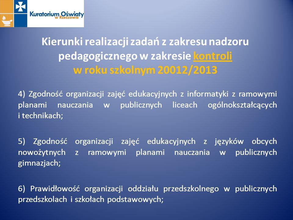 Kierunki realizacji zadań z zakresu nadzoru pedagogicznego w zakresie kontroli w roku szkolnym 20012/2013 4) Zgodność organizacji zajęć edukacyjnych z