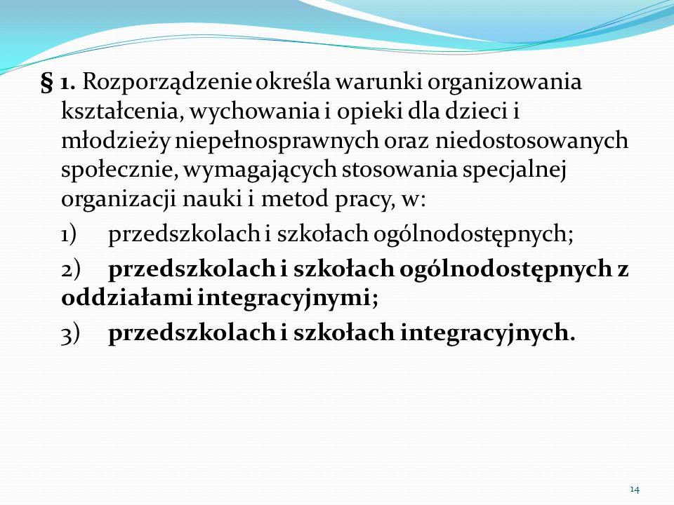 § 1. Rozporządzenie określa warunki organizowania kształcenia, wychowania i opieki dla dzieci i młodzieży niepełnosprawnych oraz niedostosowanych społ