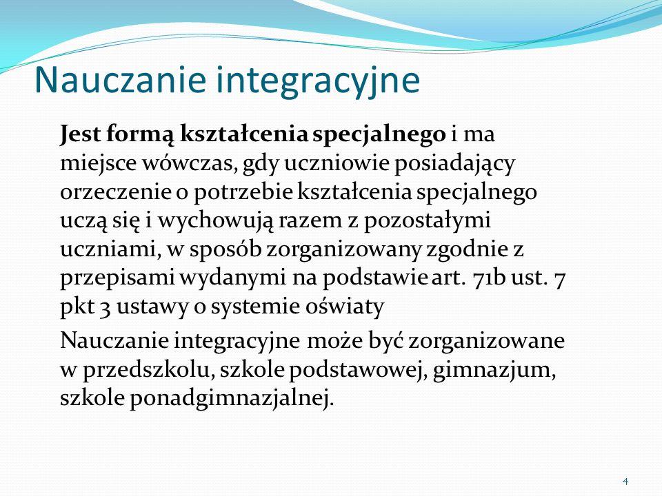 Modele integracji realizowane w polskiej oświacie Integracja pełna, całościowa – obejmuje uczniów z wszystkimi rodzajami i stopniami niepełnosprawności, do jednego oddziału mogą uczęszczać wspólnie uczniowie z różnymi stopniami upośledzenia umysłowego, niewidomi, niesłyszący Integracja częściowa – obejmuje uczniów z jednym rodzajem niepełnosprawności, np.