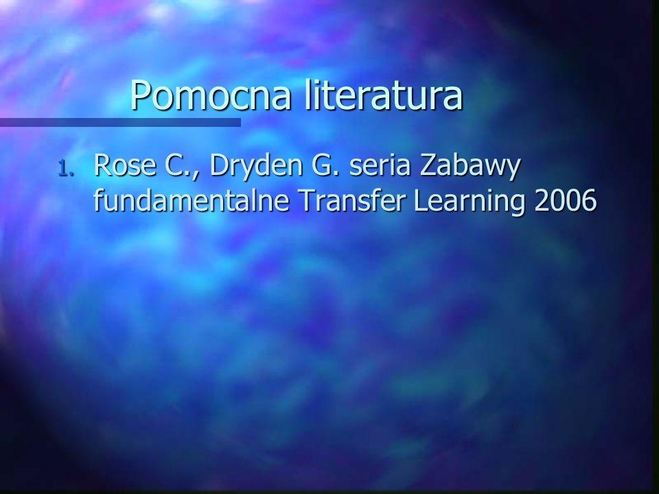 Pomocna literatura 1. Rose C., Dryden G. seria Zabawy fundamentalne Transfer Learning 2006