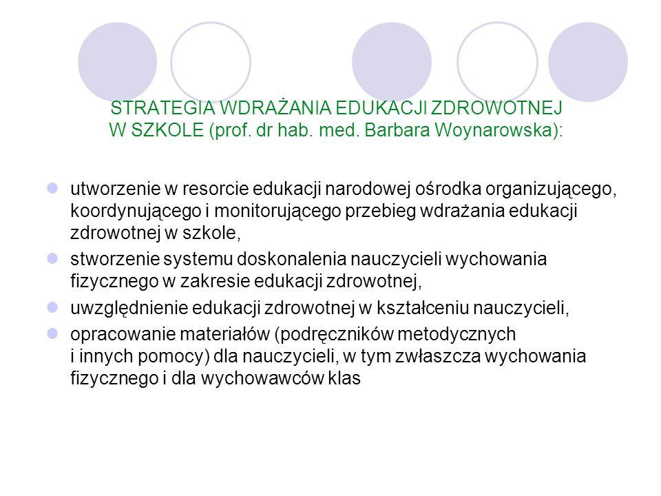 STRATEGIA WDRAŻANIA EDUKACJI ZDROWOTNEJ W SZKOLE (prof. dr hab. med. Barbara Woynarowska): utworzenie w resorcie edukacji narodowej ośrodka organizują
