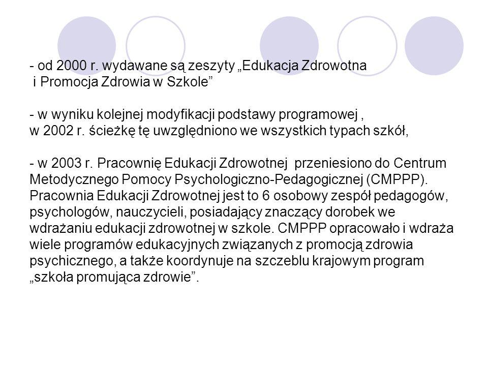 - od 2000 r. wydawane są zeszyty Edukacja Zdrowotna i Promocja Zdrowia w Szkole - w wyniku kolejnej modyfikacji podstawy programowej, w 2002 r. ścieżk