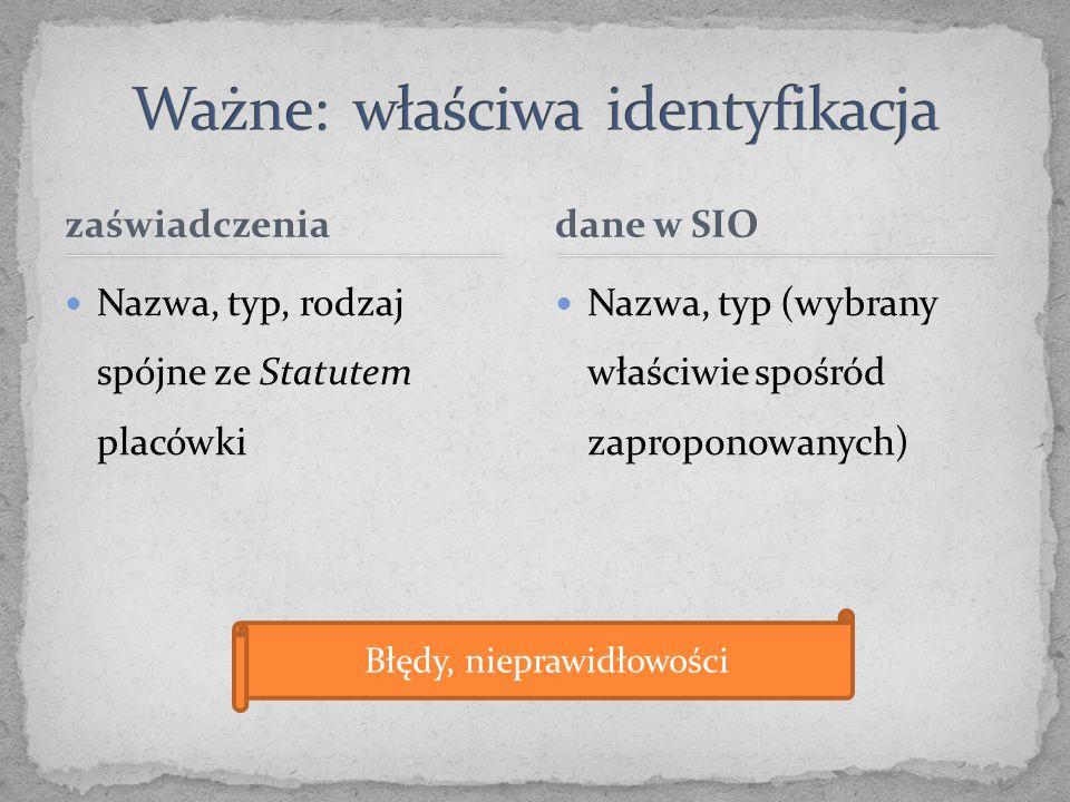 zaświadczenia Nazwa, typ, rodzaj spójne ze Statutem placówki Nazwa, typ (wybrany właściwie spośród zaproponowanych) dane w SIO Błędy, nieprawidłowości
