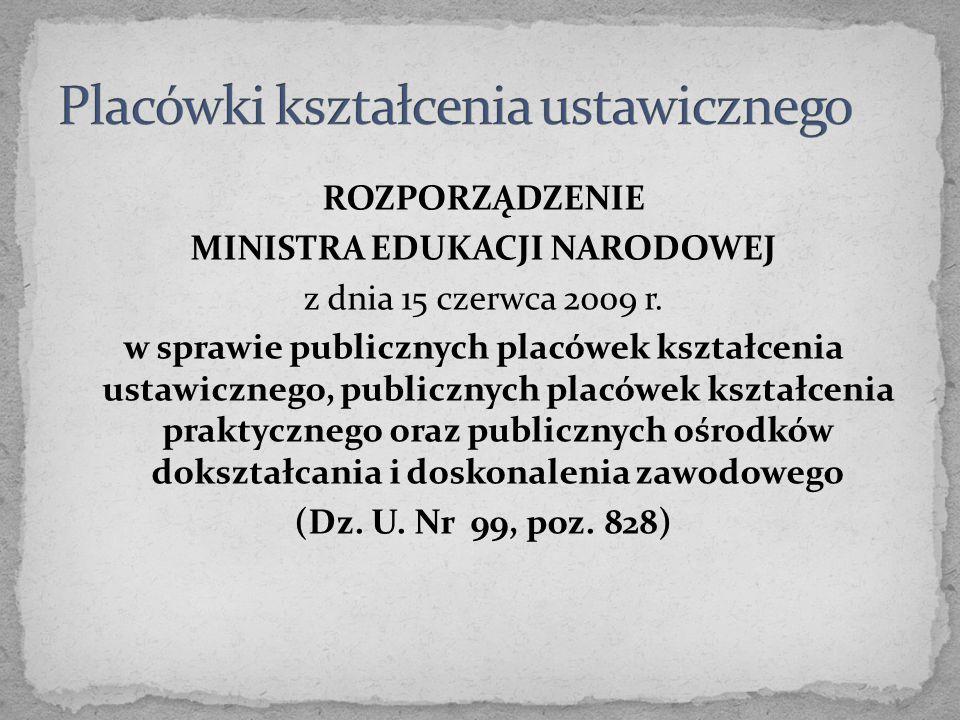 ROZPORZĄDZENIE MINISTRA EDUKACJI NARODOWEJ z dnia 15 czerwca 2009 r. w sprawie publicznych placówek kształcenia ustawicznego, publicznych placówek ksz