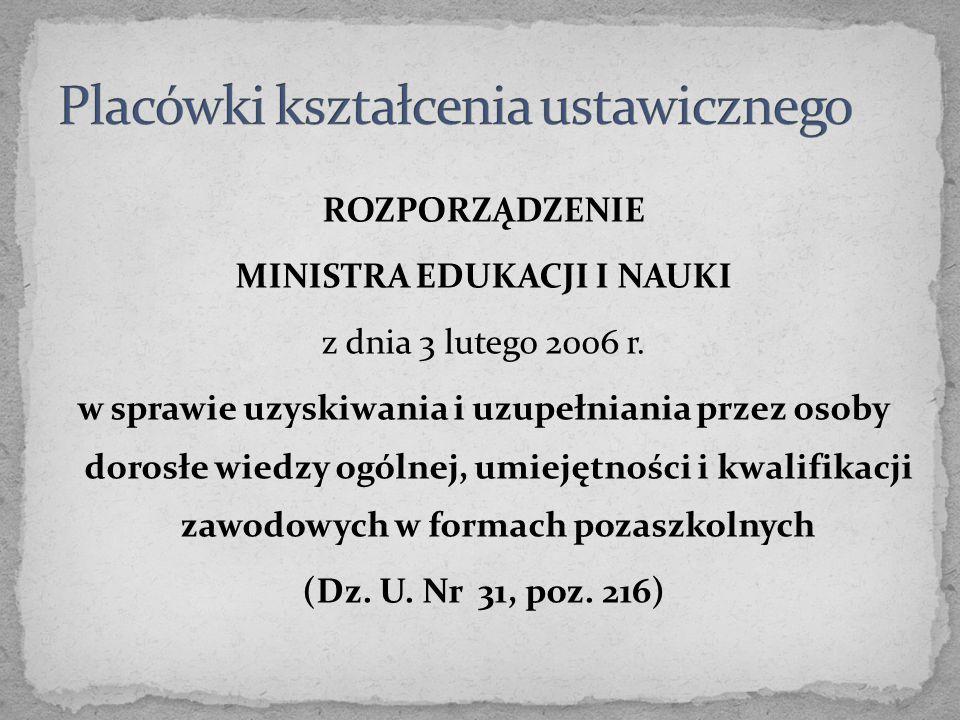 ROZPORZĄDZENIE MINISTRA EDUKACJI I NAUKI z dnia 3 lutego 2006 r. w sprawie uzyskiwania i uzupełniania przez osoby dorosłe wiedzy ogólnej, umiejętności