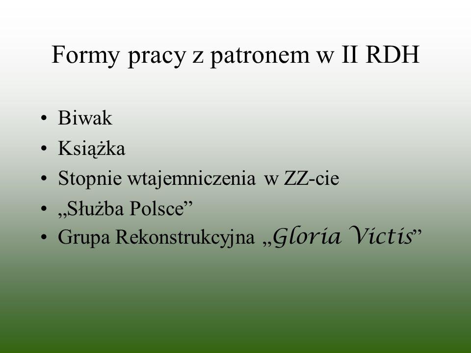 Formy pracy z patronem w II RDH Biwak Książka Stopnie wtajemniczenia w ZZ-cie Służba Polsce Grupa Rekonstrukcyjna Gloria Victis
