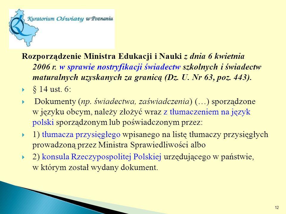 Rozporządzenie Ministra Edukacji i Nauki z dnia 6 kwietnia 2006 r.