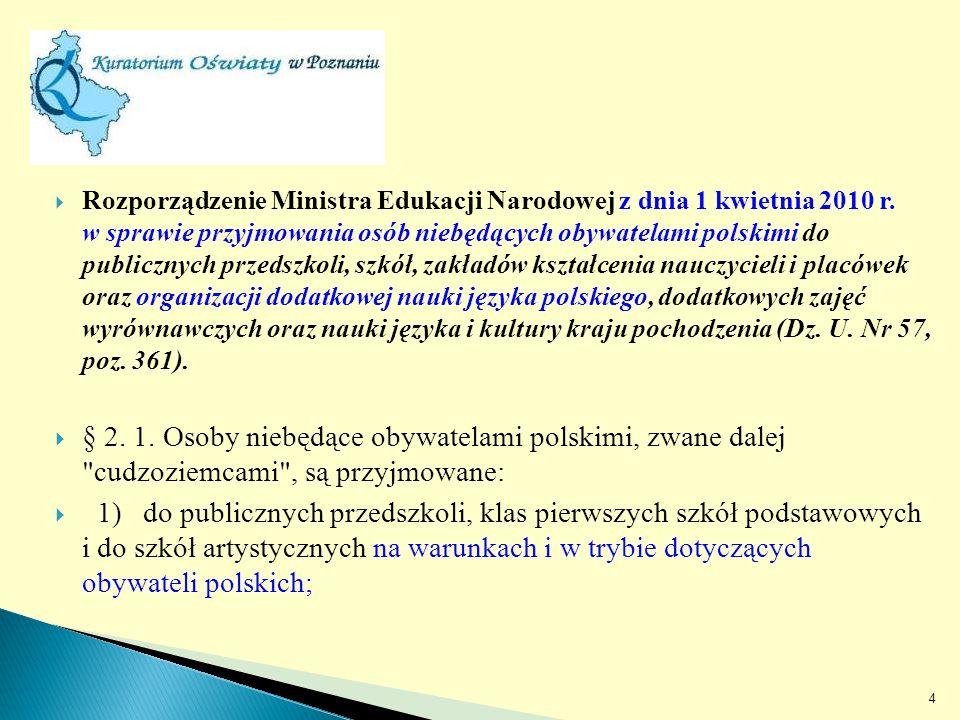 Rozporządzenie Ministra Edukacji Narodowej z dnia 1 kwietnia 2010 r.