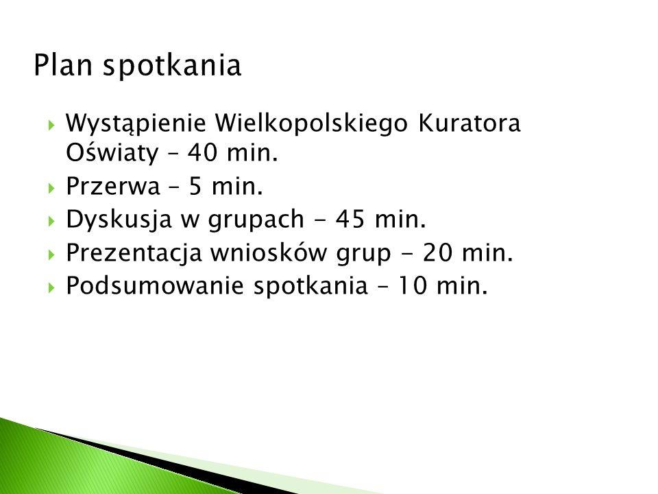 Wystąpienie Wielkopolskiego Kuratora Oświaty – 40 min. Przerwa – 5 min. Dyskusja w grupach - 45 min. Prezentacja wniosków grup - 20 min. Podsumowanie