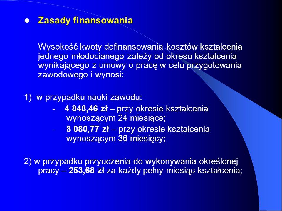 Zasady finansowania Wysokość kwoty dofinansowania kosztów kształcenia jednego młodocianego zależy od okresu kształcenia wynikającego z umowy o pracę w