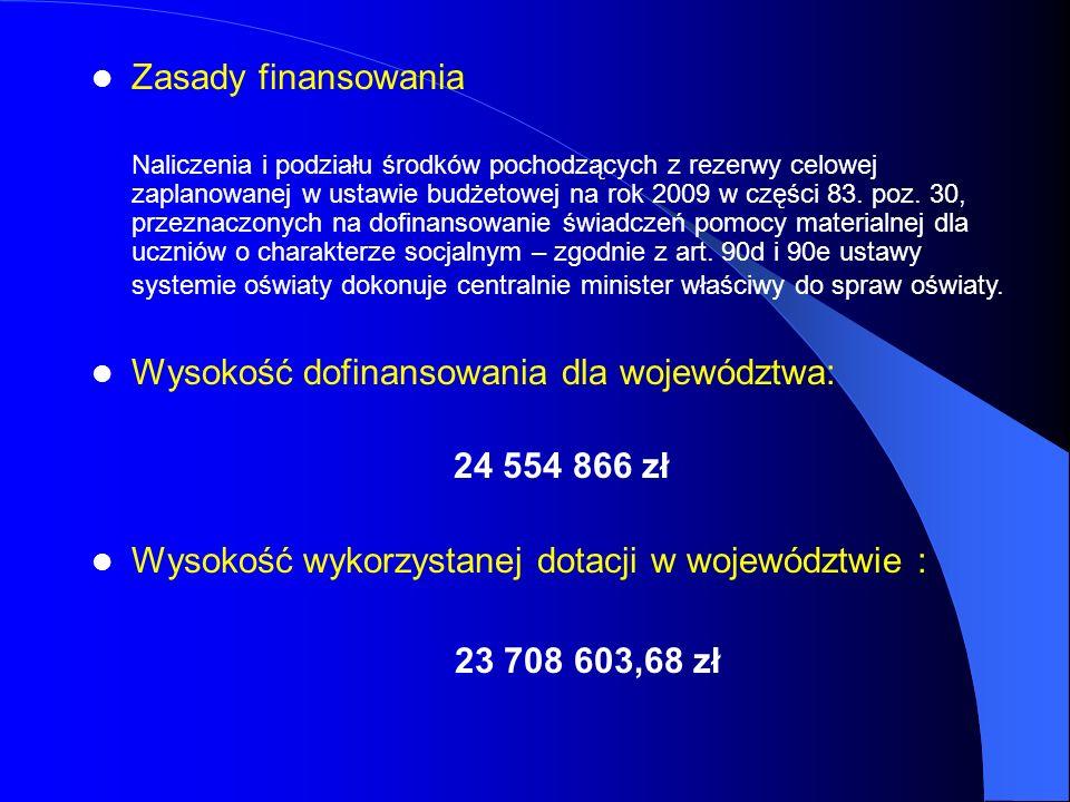 Zasady finansowania Naliczenia i podziału środków pochodzących z rezerwy celowej zaplanowanej w ustawie budżetowej na rok 2009 w części 83. poz. 30, p