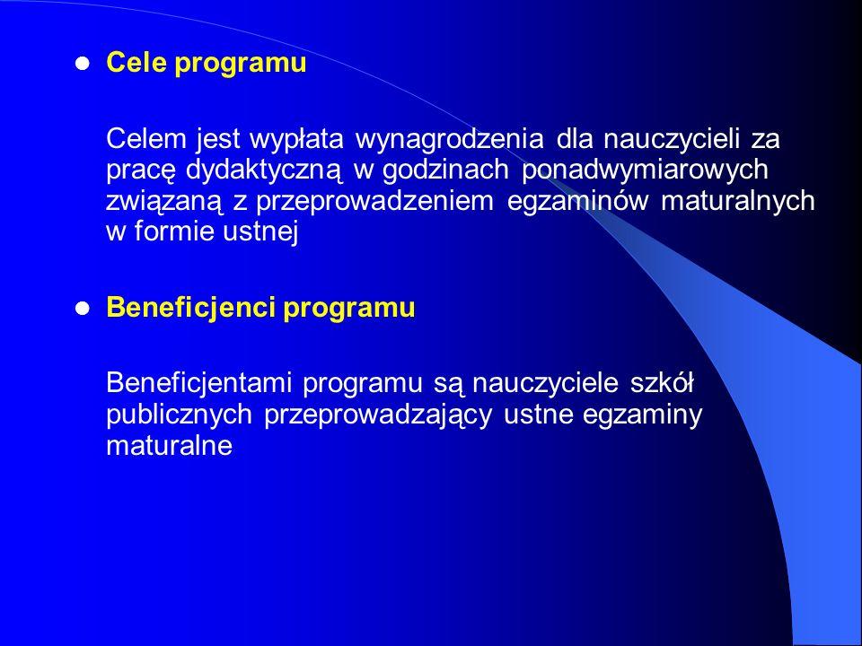 Cele programu Celem jest wypłata wynagrodzenia dla nauczycieli za pracę dydaktyczną w godzinach ponadwymiarowych związaną z przeprowadzeniem egzaminów