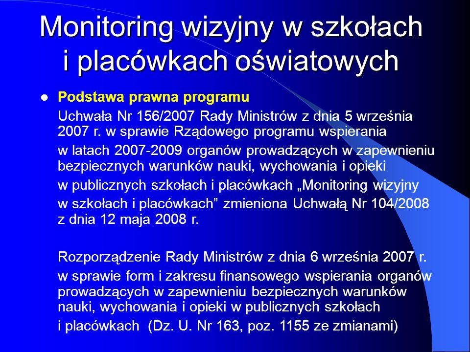 Podstawa prawna programu Uchwała Nr 156/2007 Rady Ministrów z dnia 5 września 2007 r. w sprawie Rządowego programu wspierania w latach 2007-2009 organ