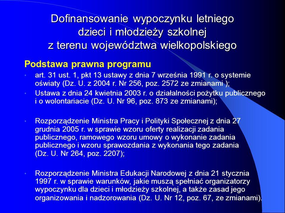 Podstawa prawna programu art. 31 ust. 1, pkt 13 ustawy z dnia 7 września 1991 r. o systemie oświaty (Dz. U. z 2004 r. Nr 256, poz. 2572 ze zmianami );