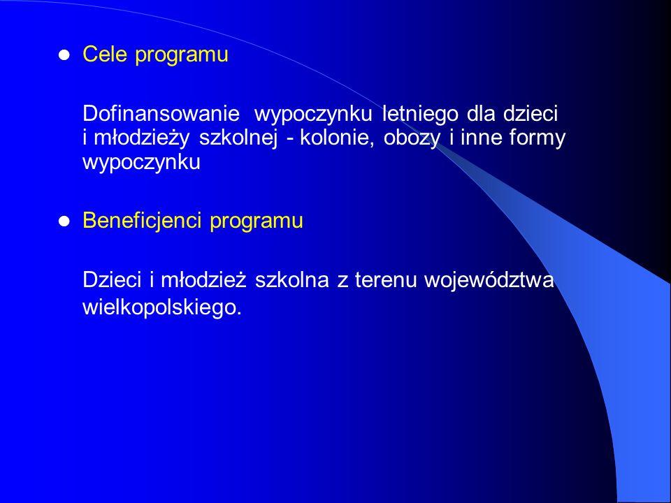 Cele programu Dofinansowanie wypoczynku letniego dla dzieci i młodzieży szkolnej - kolonie, obozy i inne formy wypoczynku Beneficjenci programu Dzieci