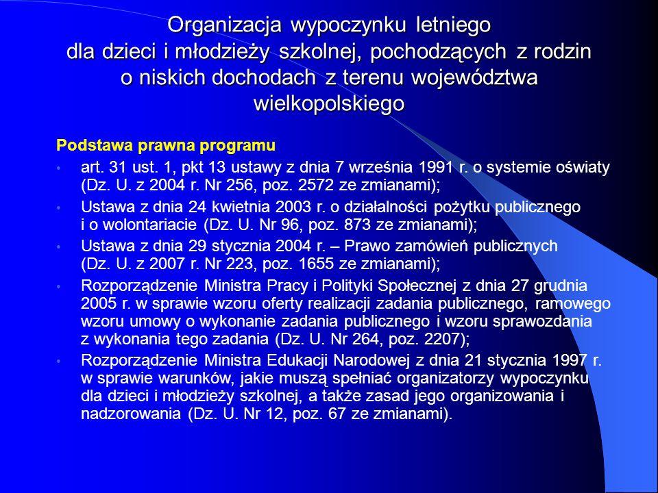 Podstawa prawna programu art. 31 ust. 1, pkt 13 ustawy z dnia 7 września 1991 r. o systemie oświaty (Dz. U. z 2004 r. Nr 256, poz. 2572 ze zmianami);