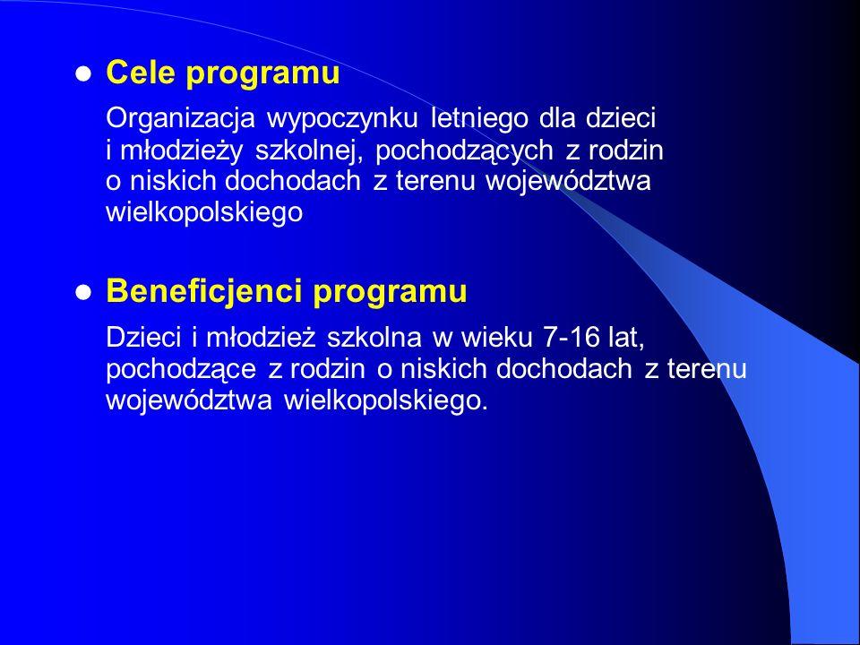 Cele programu Organizacja wypoczynku letniego dla dzieci i młodzieży szkolnej, pochodzących z rodzin o niskich dochodach z terenu województwa wielkopo