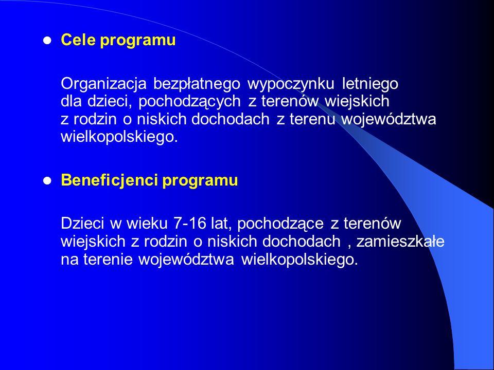 Cele programu Organizacja bezpłatnego wypoczynku letniego dla dzieci, pochodzących z terenów wiejskich z rodzin o niskich dochodach z terenu województ