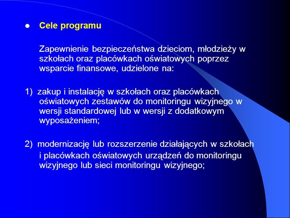 Cele programu Zapewnienie bezpieczeństwa dzieciom, młodzieży w szkołach oraz placówkach oświatowych poprzez wsparcie finansowe, udzielone na: 1) zakup