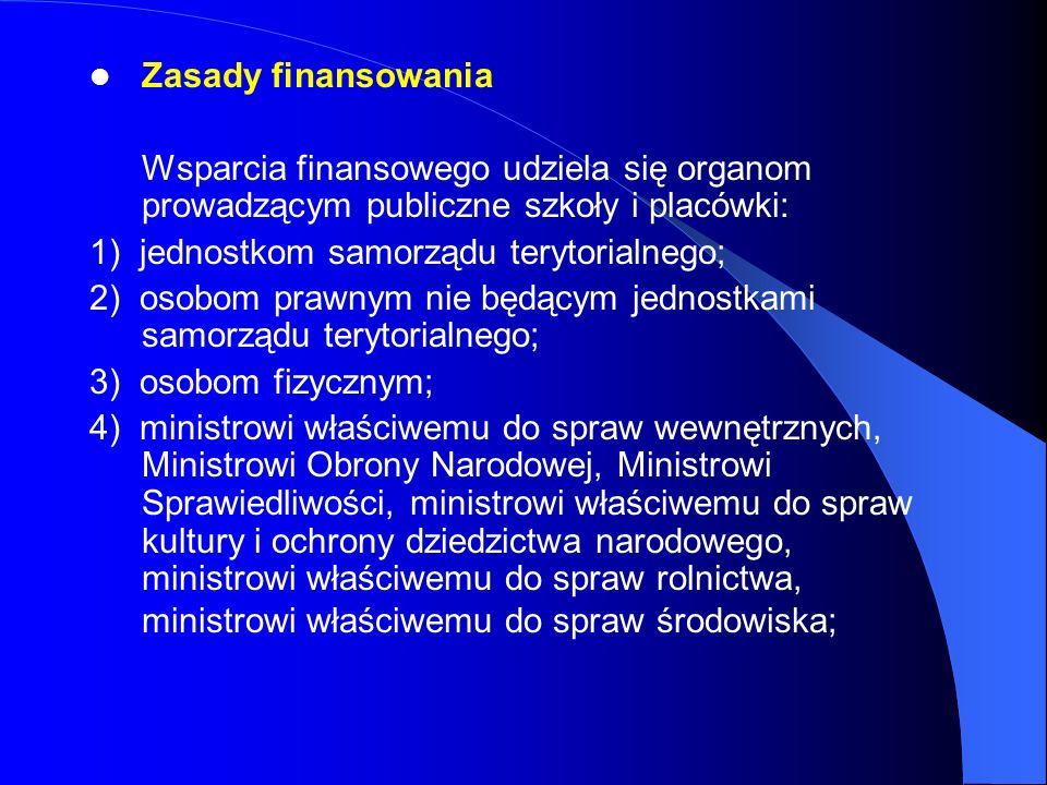Zasady finansowania Wsparcia finansowego udziela się organom prowadzącym publiczne szkoły i placówki: 1) jednostkom samorządu terytorialnego; 2) osobo
