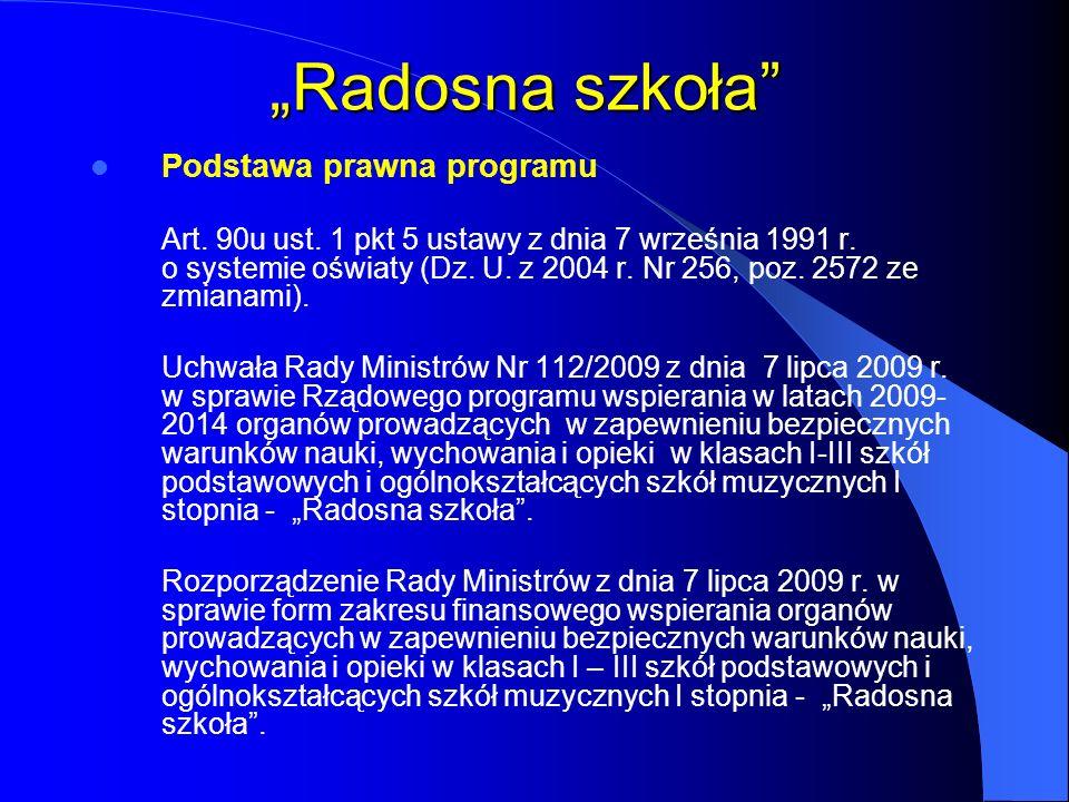 Radosna szkoła Podstawa prawna programu Art. 90u ust. 1 pkt 5 ustawy z dnia 7 września 1991 r. o systemie oświaty (Dz. U. z 2004 r. Nr 256, poz. 2572