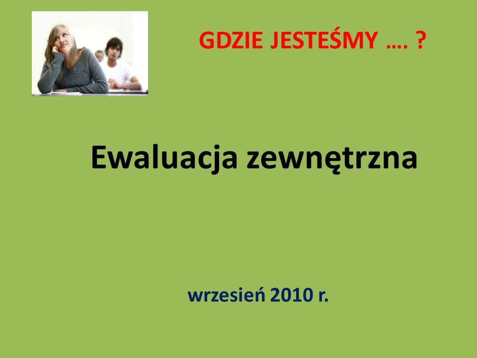 GDZIE JESTEŚMY …. ? Ewaluacja zewnętrzna wrzesień 2010 r.