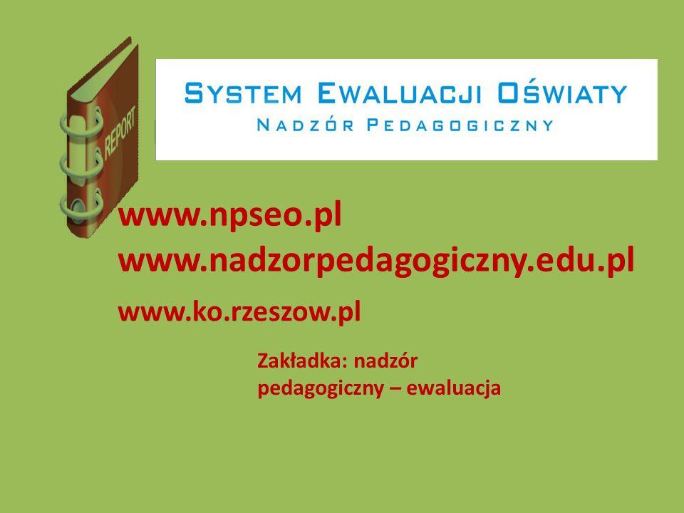 Raport www.npseo.pl www.nadzorpedagogiczny.edu.pl www.ko.rzeszow.pl Zakładka: nadzór pedagogiczny – ewaluacja